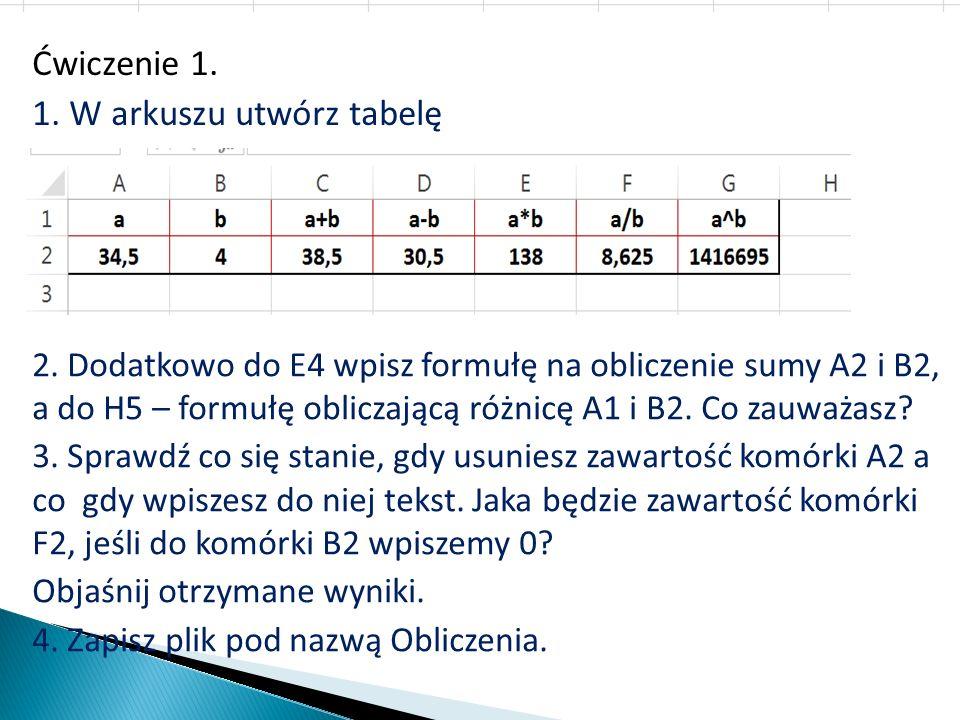 Ćwiczenie 1. 1. W arkuszu utwórz tabelę 2. Dodatkowo do E4 wpisz formułę na obliczenie sumy A2 i B2, a do H5 – formułę obliczającą różnicę A1 i B2. Co