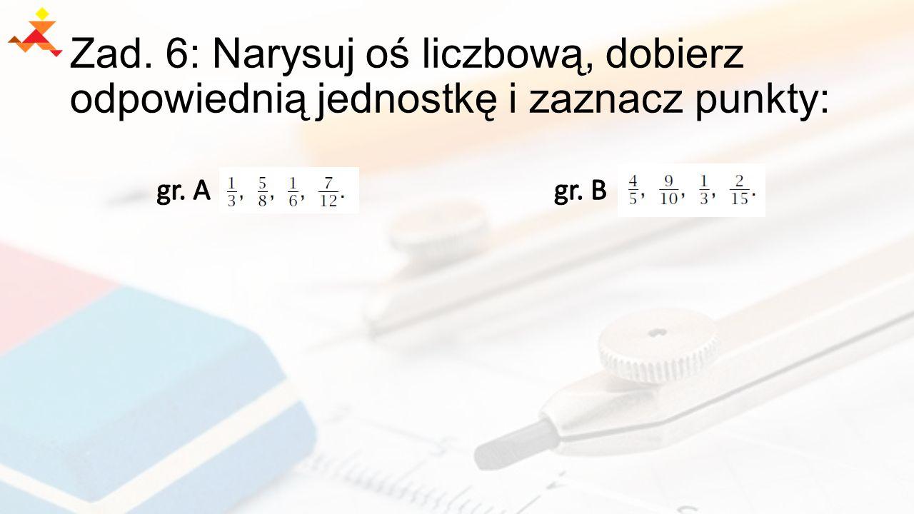 Zad. 6: Narysuj oś liczbową, dobierz odpowiednią jednostkę i zaznacz punkty: