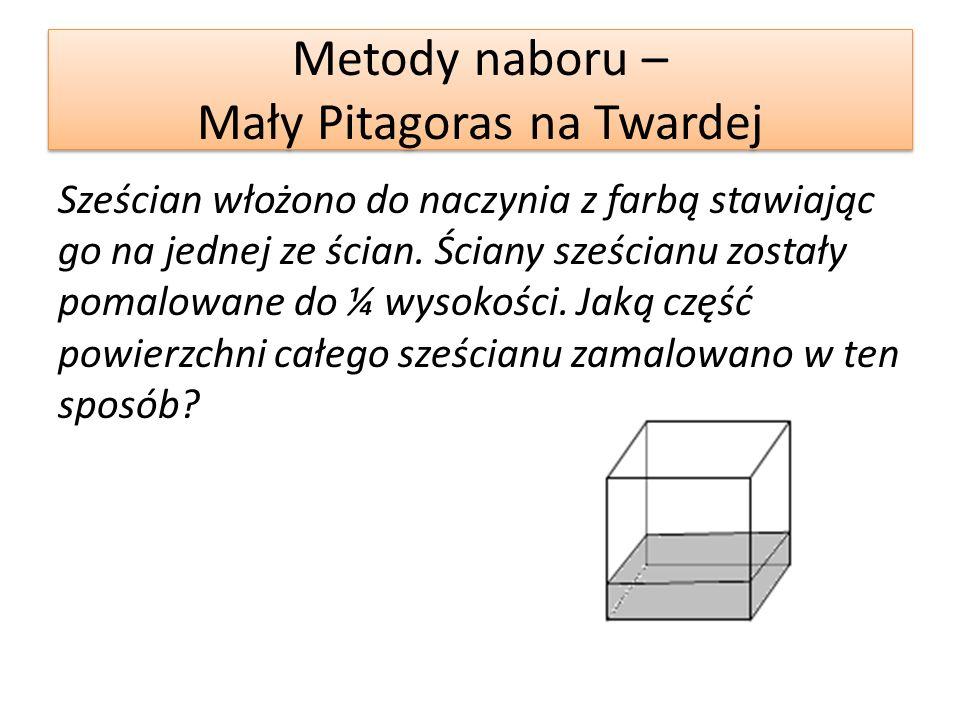 Metody naboru – Mały Pitagoras na Twardej Sześcian włożono do naczynia z farbą stawiając go na jednej ze ścian.