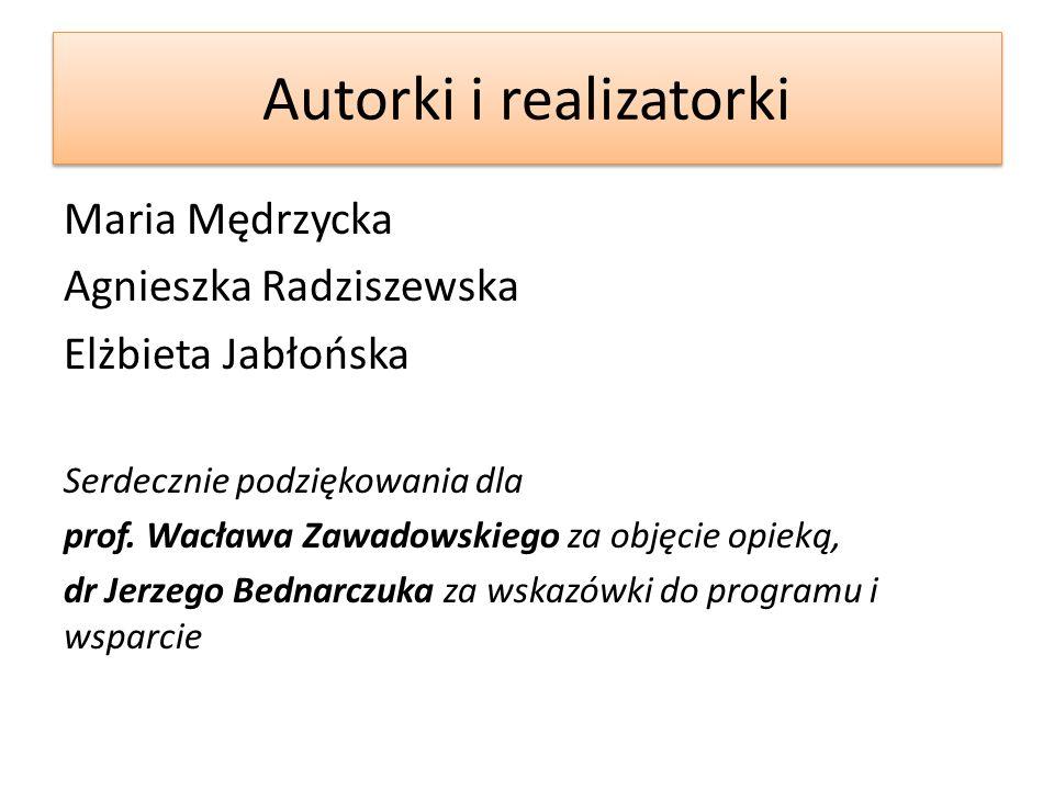 Autorki i realizatorki Maria Mędrzycka Agnieszka Radziszewska Elżbieta Jabłońska Serdecznie podziękowania dla prof.