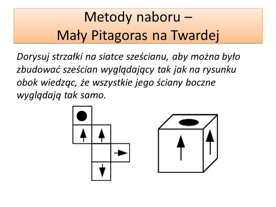Metody naboru – Mały Pitagoras na Twardej Dorysuj strzałki na siatce sześcianu, aby można było zbudować sześcian wyglądający tak jak na rysunku obok wiedząc, że wszystkie jego ściany boczne wyglądają tak samo.