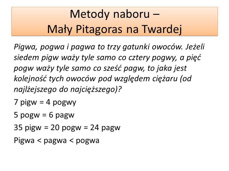 Metody naboru – Mały Pitagoras na Twardej Butelka ma pojemność 2/3 litra.
