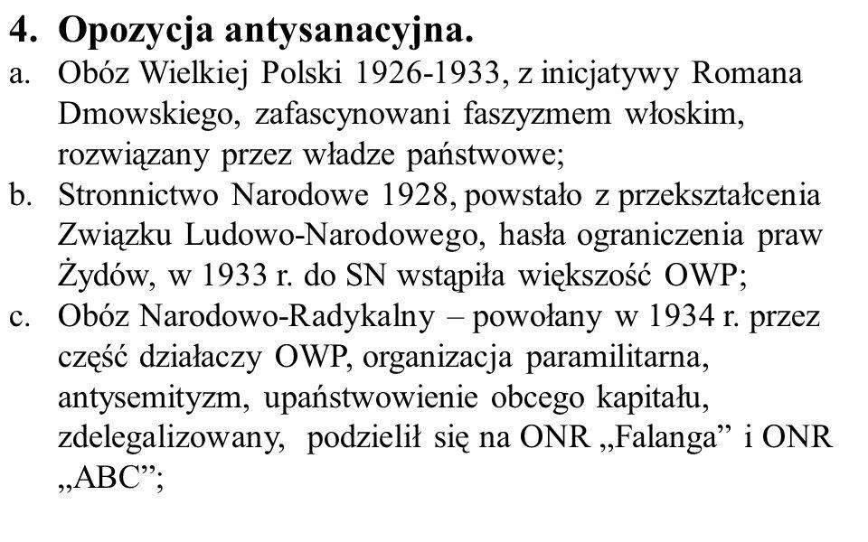 4.Opozycja antysanacyjna. a.Obóz Wielkiej Polski 1926-1933, z inicjatywy Romana Dmowskiego, zafascynowani faszyzmem włoskim, rozwiązany przez władze p