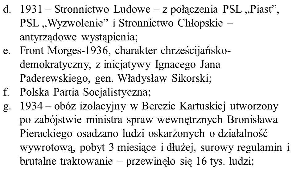 """d.1931 – Stronnictwo Ludowe – z połączenia PSL """"Piast"""", PSL """"Wyzwolenie"""" i Stronnictwo Chłopskie – antyrządowe wystąpienia; e.Front Morges-1936, chara"""