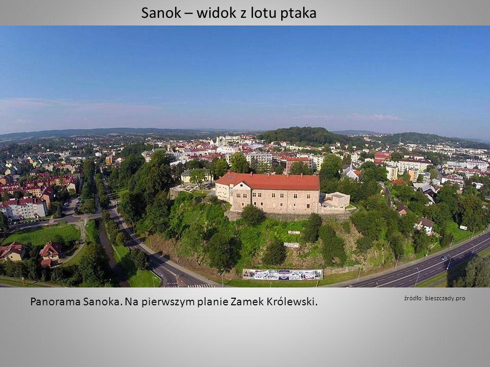 Panorama Sanoka. Na pierwszym planie Zamek Królewski.