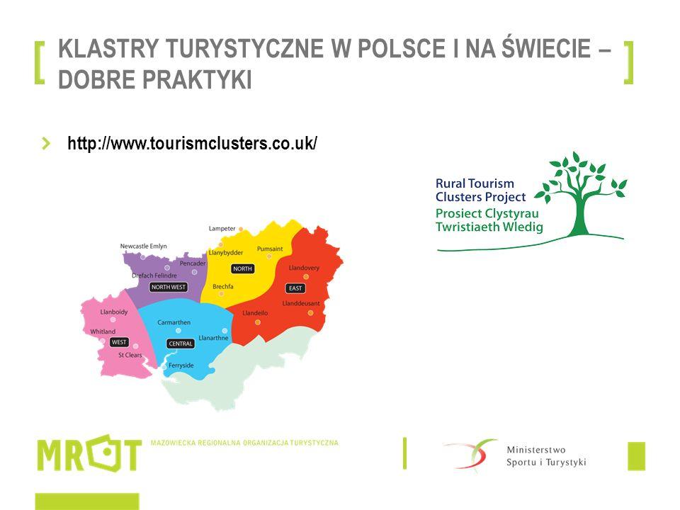 KLASTRY TURYSTYCZNE W POLSCE I NA ŚWIECIE – DOBRE PRAKTYKI http://www.tourismclusters.co.uk/