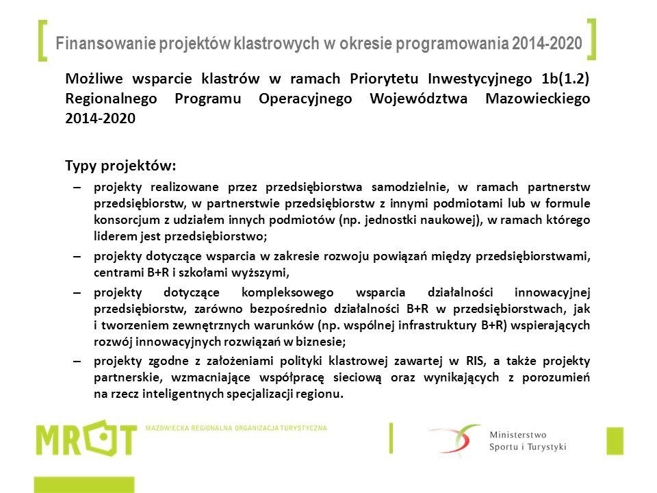 Finansowanie projektów klastrowych w okresie programowania 2014-2020 Możliwe wsparcie klastrów w ramach Priorytetu Inwestycyjnego 1b(1.2) Regionalnego