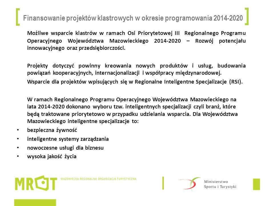 Finansowanie projektów klastrowych w okresie programowania 2014-2020 Możliwe wsparcie klastrów w ramach Osi Priorytetowej III Regionalnego Programu Op