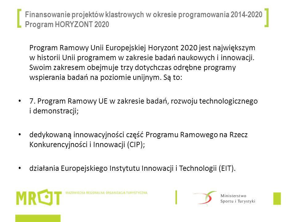 Finansowanie projektów klastrowych w okresie programowania 2014-2020 Program HORYZONT 2020 Program Ramowy Unii Europejskiej Horyzont 2020 jest najwięk