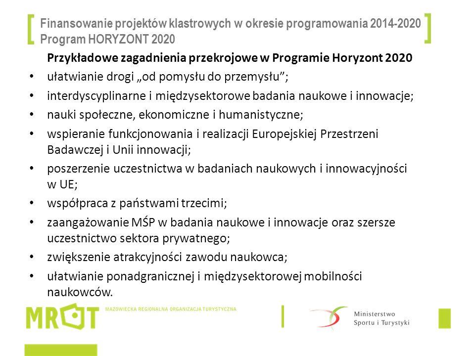 Finansowanie projektów klastrowych w okresie programowania 2014-2020 Program HORYZONT 2020 Przykładowe zagadnienia przekrojowe w Programie Horyzont 20