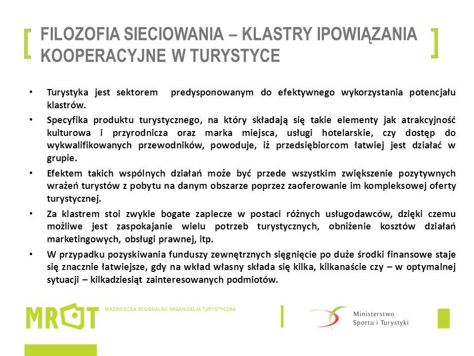 FILOZOFIA SIECIOWANIA – KLASTRY IPOWIĄZANIA KOOPERACYJNE W TURYSTYCE Turystyka jest sektorem predysponowanym do efektywnego wykorzystania potencjału k