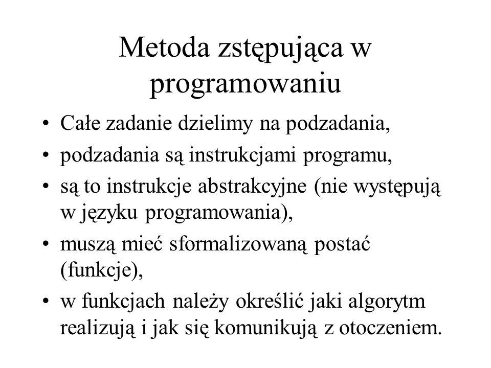 Metoda zstępująca w programowaniu Całe zadanie dzielimy na podzadania, podzadania są instrukcjami programu, są to instrukcje abstrakcyjne (nie występu