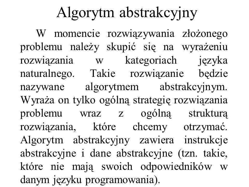 Algorytm abstrakcyjny W momencie rozwiązywania złożonego problemu należy skupić się na wyrażeniu rozwiązania w kategoriach języka naturalnego. Takie r