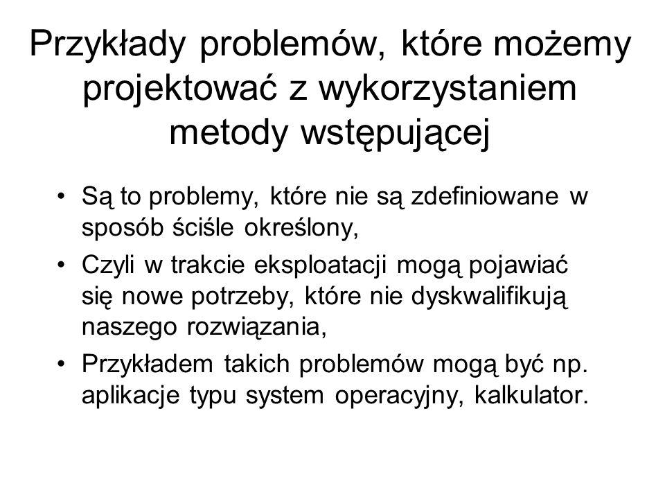 Przykłady problemów, które możemy projektować z wykorzystaniem metody wstępującej Są to problemy, które nie są zdefiniowane w sposób ściśle określony,