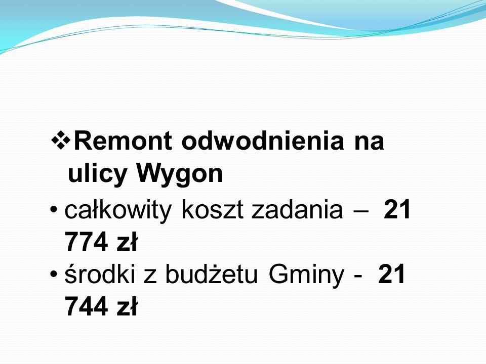  Remont odwodnienia na ulicy Wygon całkowity koszt zadania – 21 774 zł środki z budżetu Gminy - 21 744 zł
