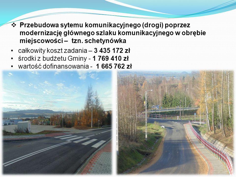  Przebudowa sytemu komunikacyjnego (drogi) poprzez modernizację głównego szlaku komunikacyjnego w obrębie miejscowości – tzn.