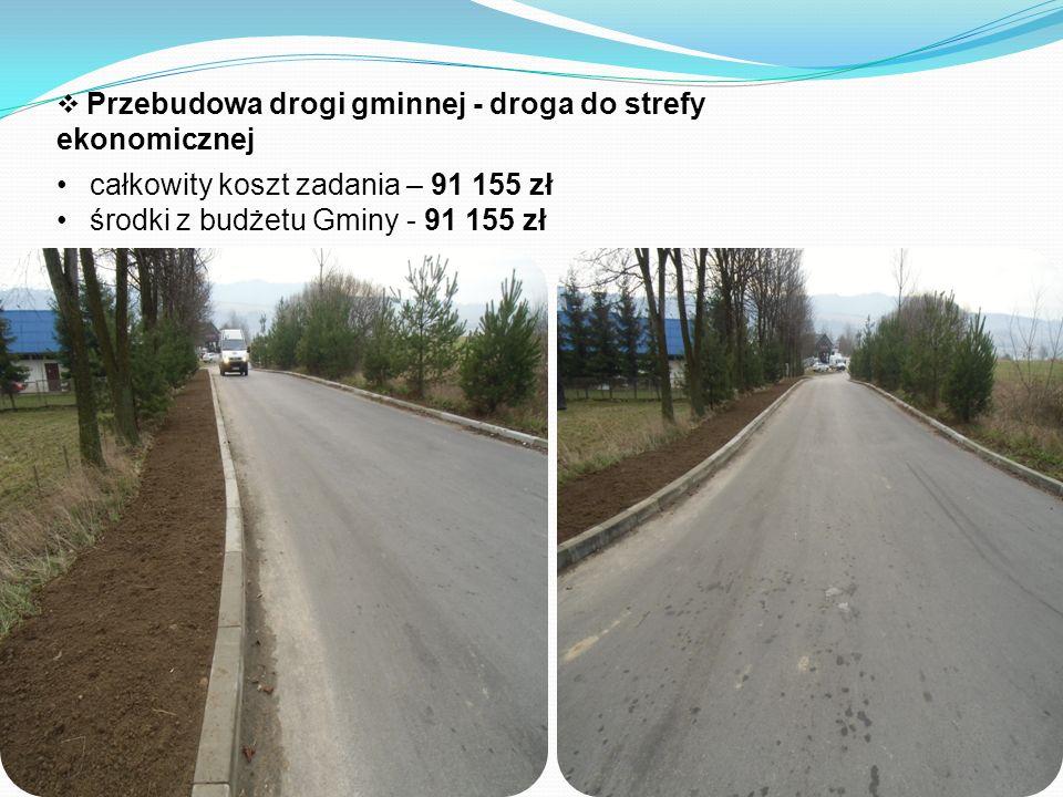  Przebudowa drogi gminnej - droga do strefy ekonomicznej całkowity koszt zadania – 91 155 zł środki z budżetu Gminy - 91 155 zł