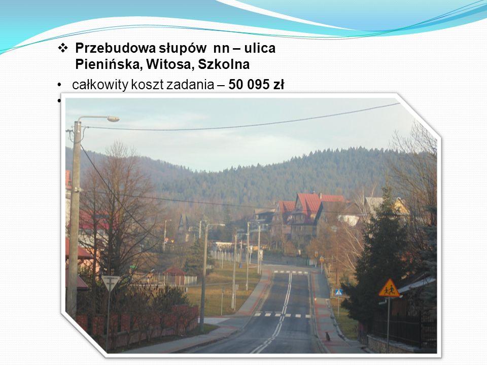  Przebudowa słupów nn – ulica Pienińska, Witosa, Szkolna całkowity koszt zadania – 50 095 zł środki z budżetu Gminy - 50 095 zł