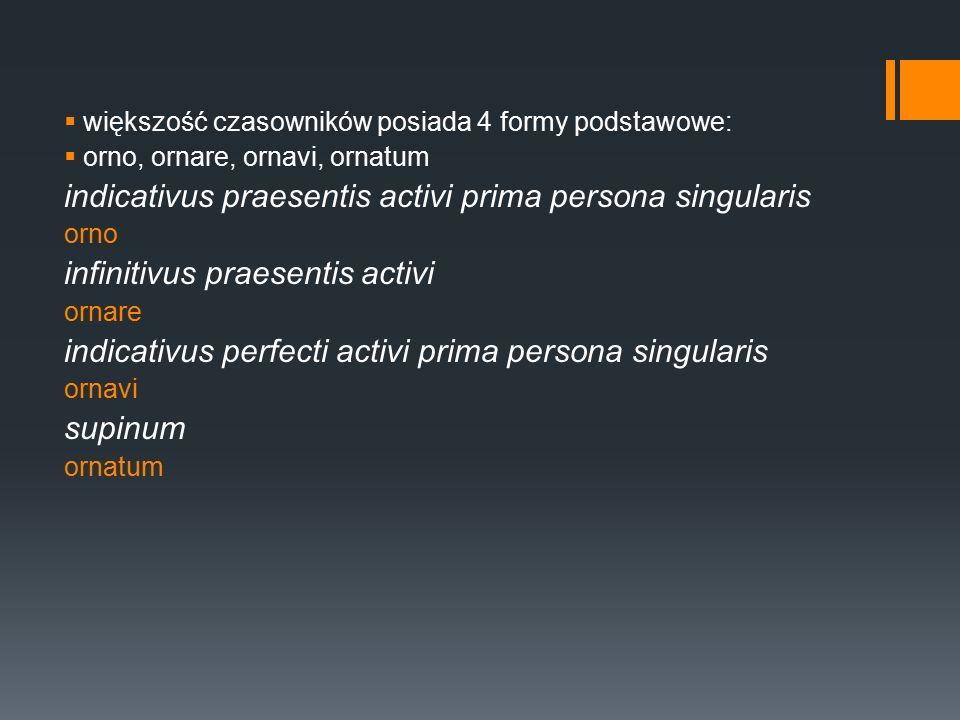  większość czasowników posiada 4 formy podstawowe:  orno, ornare, ornavi, ornatum indicativus praesentis activi prima persona singularis orno infinitivus praesentis activi ornare indicativus perfecti activi prima persona singularis ornavi supinum ornatum