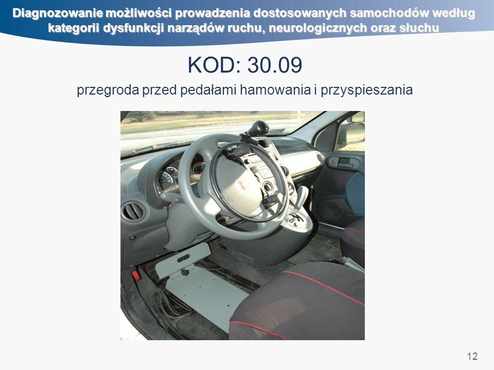12 Diagnozowanie możliwości prowadzenia dostosowanych samochodów według kategorii dysfunkcji narządów ruchu, neurologicznych oraz słuchu KOD: 30.09 pr