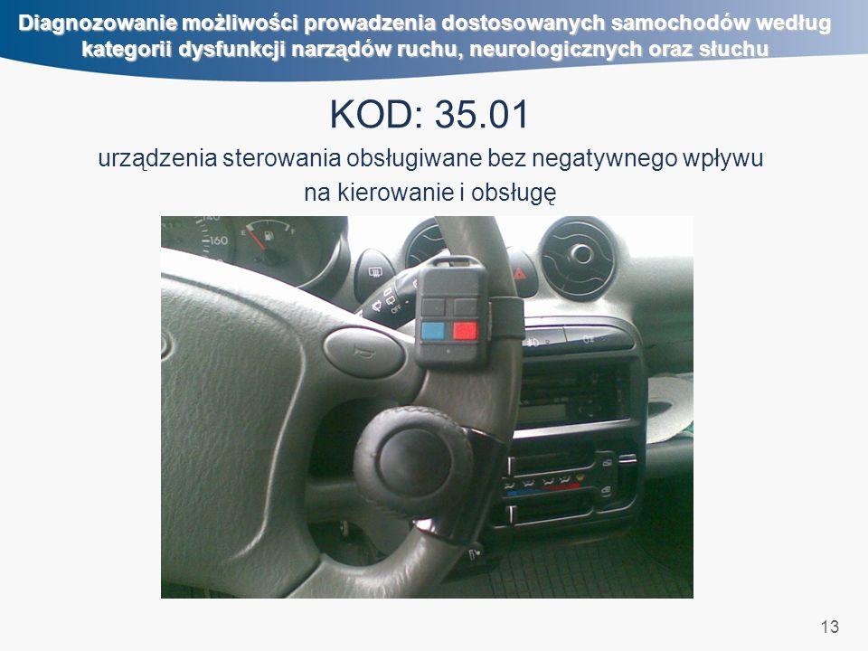 13 Diagnozowanie możliwości prowadzenia dostosowanych samochodów według kategorii dysfunkcji narządów ruchu, neurologicznych oraz słuchu KOD: 35.01 urządzenia sterowania obsługiwane bez negatywnego wpływu na kierowanie i obsługę