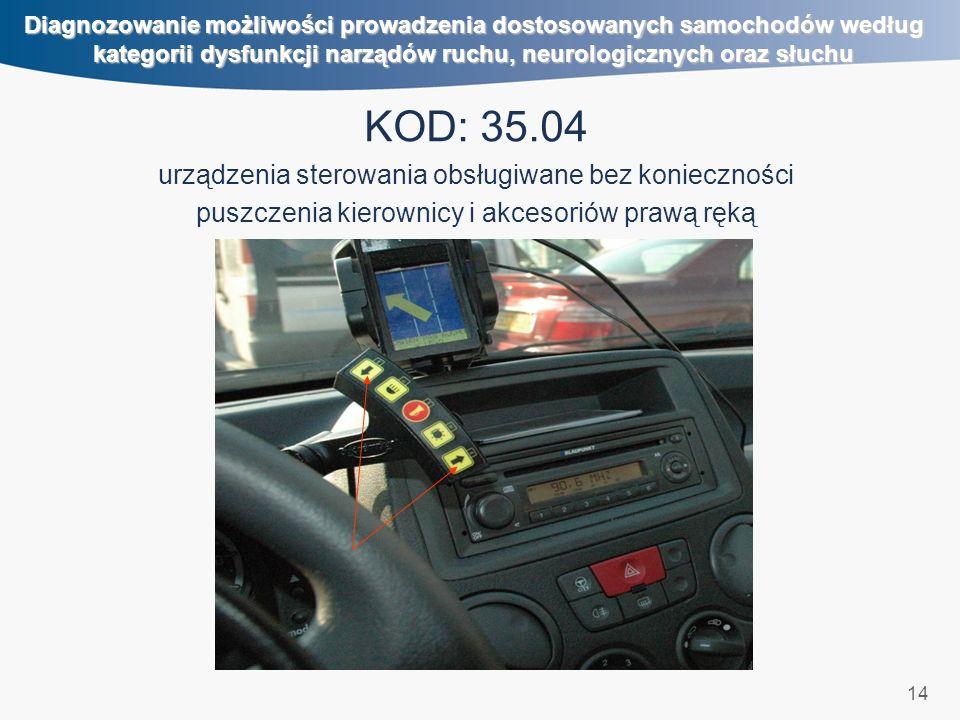 14 Diagnozowanie możliwości prowadzenia dostosowanych samochodów według kategorii dysfunkcji narządów ruchu, neurologicznych oraz słuchu KOD: 35.04 urządzenia sterowania obsługiwane bez konieczności puszczenia kierownicy i akcesoriów prawą ręką