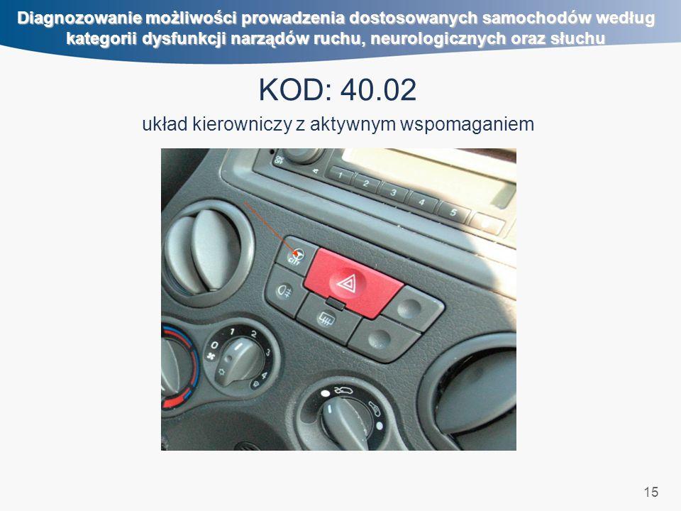 15 Diagnozowanie możliwości prowadzenia dostosowanych samochodów według kategorii dysfunkcji narządów ruchu, neurologicznych oraz słuchu KOD: 40.02 uk