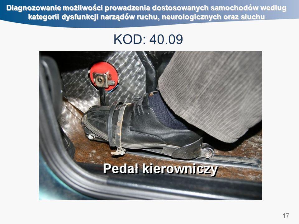 17 Diagnozowanie możliwości prowadzenia dostosowanych samochodów według kategorii dysfunkcji narządów ruchu, neurologicznych oraz słuchu KOD: 40.09 kierowanie nożne