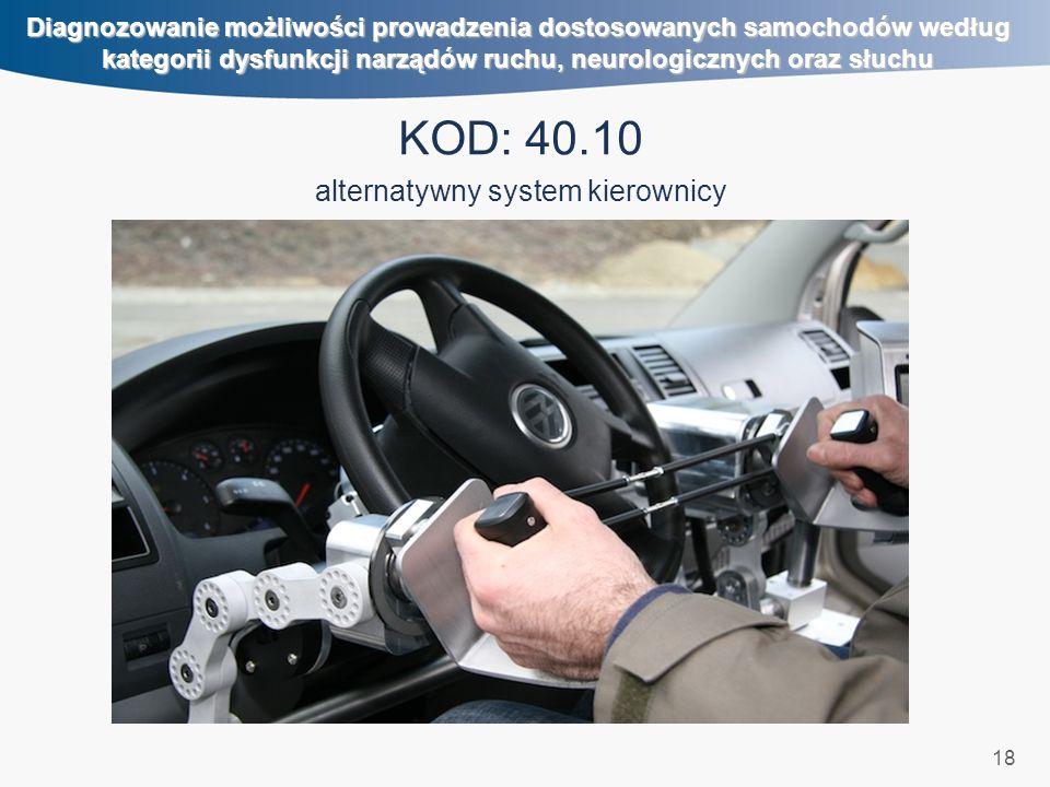 18 Diagnozowanie możliwości prowadzenia dostosowanych samochodów według kategorii dysfunkcji narządów ruchu, neurologicznych oraz słuchu KOD: 40.10 al