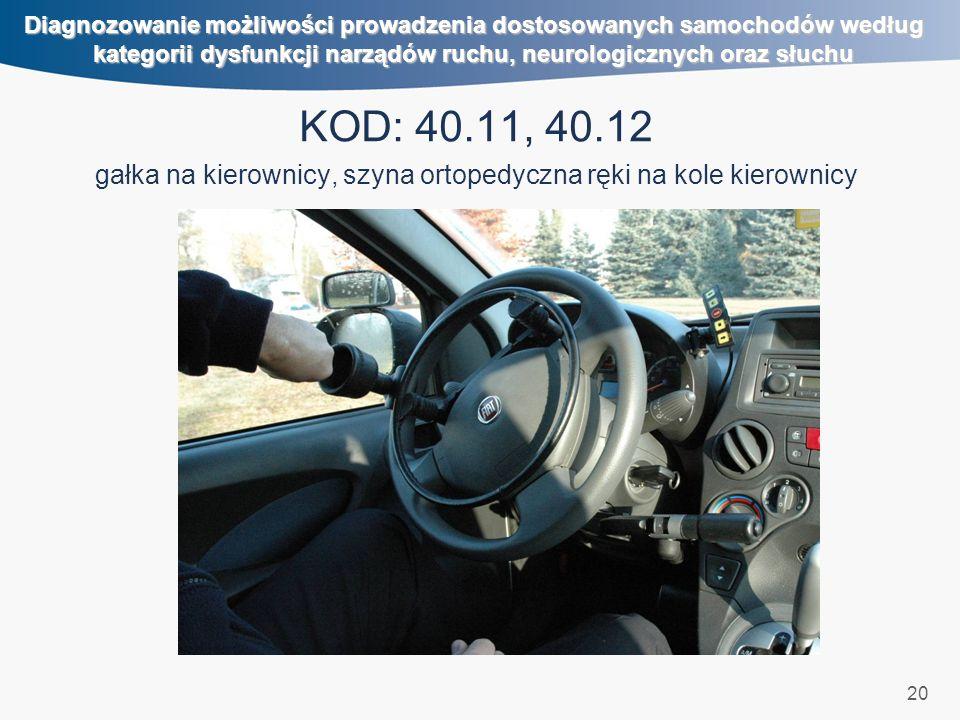 20 Diagnozowanie możliwości prowadzenia dostosowanych samochodów według kategorii dysfunkcji narządów ruchu, neurologicznych oraz słuchu KOD: 40.11, 4