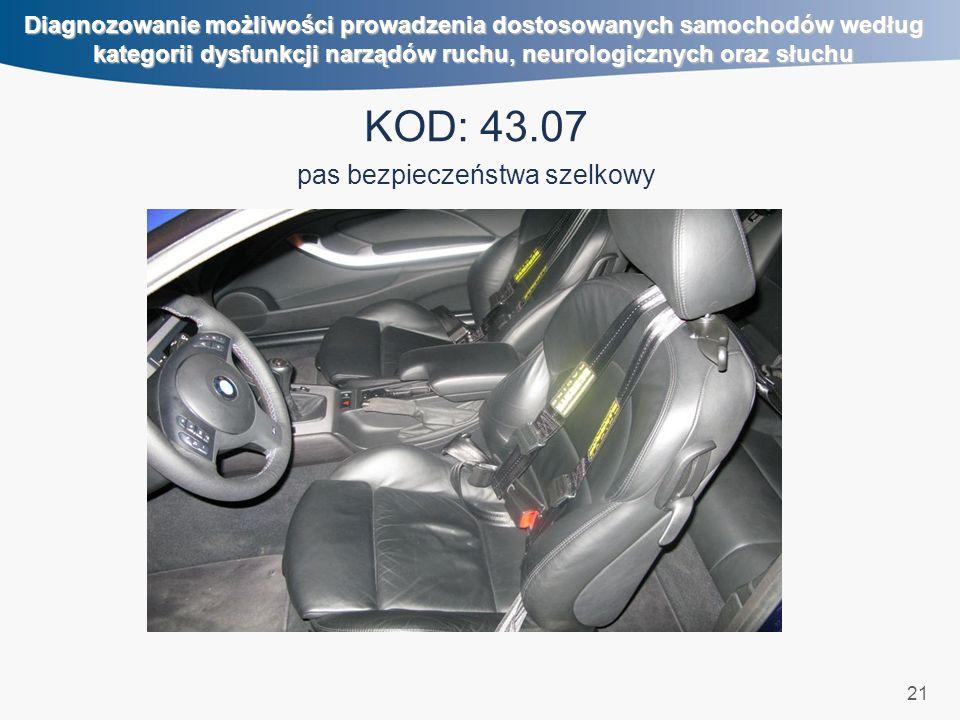 21 Diagnozowanie możliwości prowadzenia dostosowanych samochodów według kategorii dysfunkcji narządów ruchu, neurologicznych oraz słuchu KOD: 43.07 pas bezpieczeństwa szelkowy