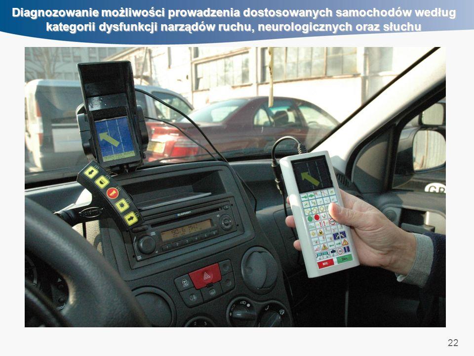 22 Diagnozowanie możliwości prowadzenia dostosowanych samochodów według kategorii dysfunkcji narządów ruchu, neurologicznych oraz słuchu