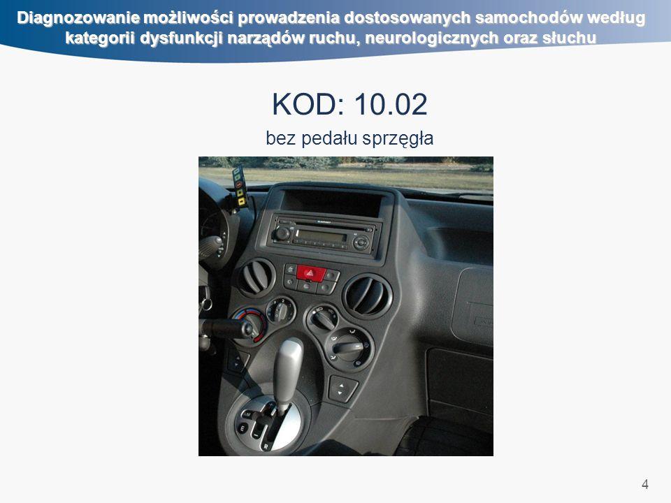 4 Diagnozowanie możliwości prowadzenia dostosowanych samochodów według kategorii dysfunkcji narządów ruchu, neurologicznych oraz słuchu KOD: 10.02 bez pedału sprzęgła
