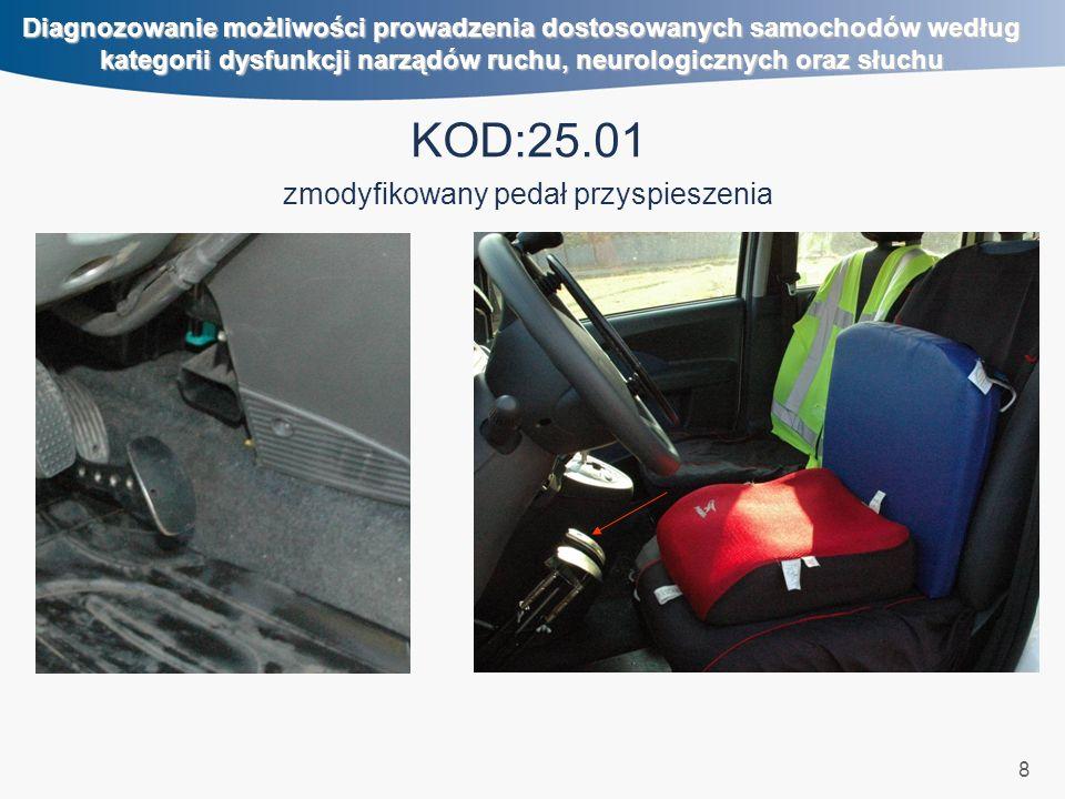 8 Diagnozowanie możliwości prowadzenia dostosowanych samochodów według kategorii dysfunkcji narządów ruchu, neurologicznych oraz słuchu KOD:25.01 zmod
