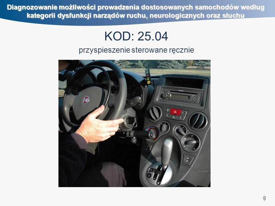 20 Diagnozowanie możliwości prowadzenia dostosowanych samochodów według kategorii dysfunkcji narządów ruchu, neurologicznych oraz słuchu KOD: 40.11, 40.12 gałka na kierownicy, szyna ortopedyczna ręki na kole kierownicy