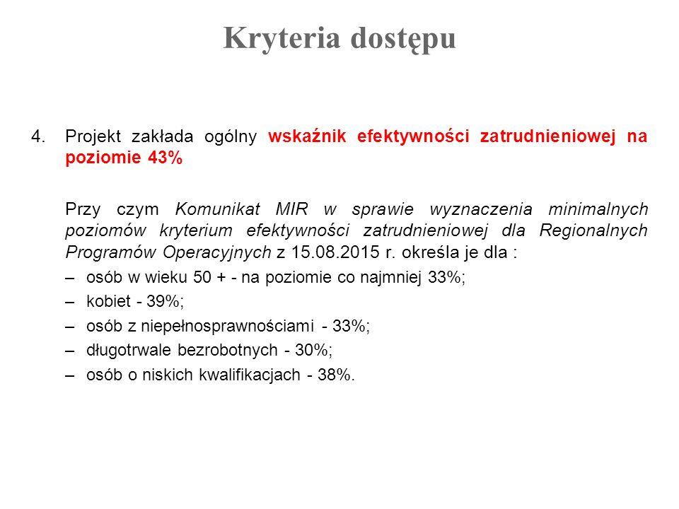 Kryteria dostępu 4.Projekt zakłada ogólny wskaźnik efektywności zatrudnieniowej na poziomie 43% Przy czym Komunikat MIR w sprawie wyznaczenia minimaln