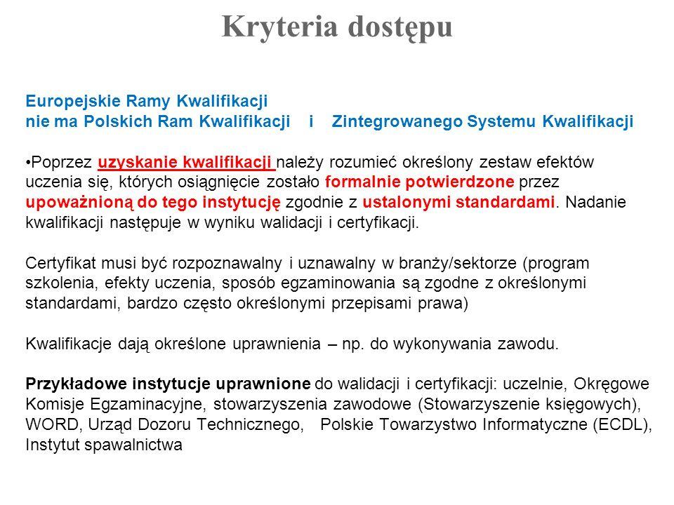 Kryteria dostępu Europejskie Ramy Kwalifikacji nie ma Polskich Ram Kwalifikacji i Zintegrowanego Systemu Kwalifikacji Poprzez uzyskanie kwalifikacji n
