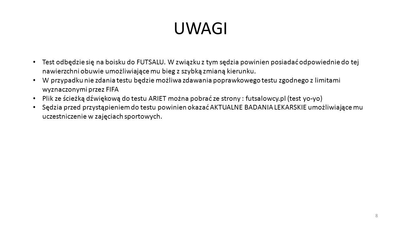 UWAGI 8 Test odbędzie się na boisku do FUTSALU.