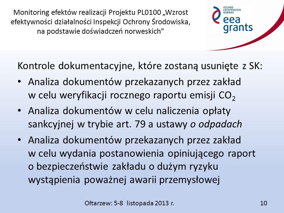 """Monitoring efektów realizacji Projektu PL0100 """"Wzrost efektywności działalności Inspekcji Ochrony Środowiska, na podstawie doświadczeń norweskich Kontrole dokumentacyjne, które zostaną usunięte z SK: Analiza dokumentów przekazanych przez zakład w celu weryfikacji rocznego raportu emisji CO 2 Analiza dokumentów w celu naliczenia opłaty sankcyjnej w trybie art."""