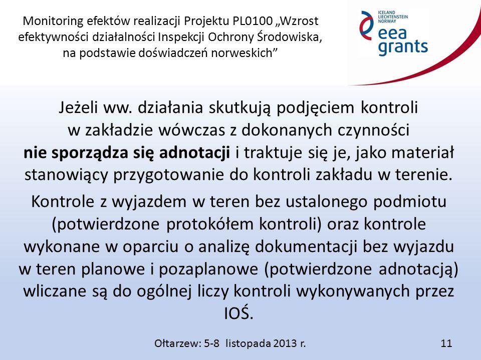 """Monitoring efektów realizacji Projektu PL0100 """"Wzrost efektywności działalności Inspekcji Ochrony Środowiska, na podstawie doświadczeń norweskich Jeżeli ww."""