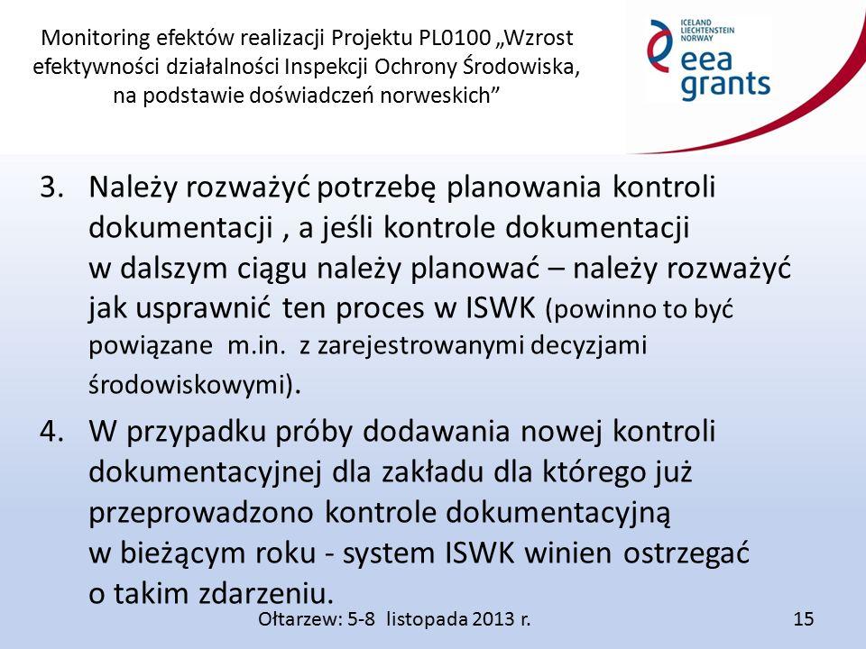 """Monitoring efektów realizacji Projektu PL0100 """"Wzrost efektywności działalności Inspekcji Ochrony Środowiska, na podstawie doświadczeń norweskich 3.Należy rozważyć potrzebę planowania kontroli dokumentacji, a jeśli kontrole dokumentacji w dalszym ciągu należy planować – należy rozważyć jak usprawnić ten proces w ISWK (powinno to być powiązane m.in."""