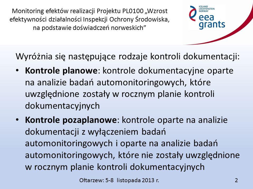 """Monitoring efektów realizacji Projektu PL0100 """"Wzrost efektywności działalności Inspekcji Ochrony Środowiska, na podstawie doświadczeń norweskich Wyróżnia się następujące rodzaje kontroli dokumentacji: Kontrole planowe: kontrole dokumentacyjne oparte na analizie badań automonitoringowych, które uwzględnione zostały w rocznym planie kontroli dokumentacyjnych Kontrole pozaplanowe: kontrole oparte na analizie dokumentacji z wyłączeniem badań automonitoringowych i oparte na analizie badań automonitoringowych, które nie zostały uwzględnione w rocznym planie kontroli dokumentacyjnych Ołtarzew: 5-8 listopada 2013 r.2"""