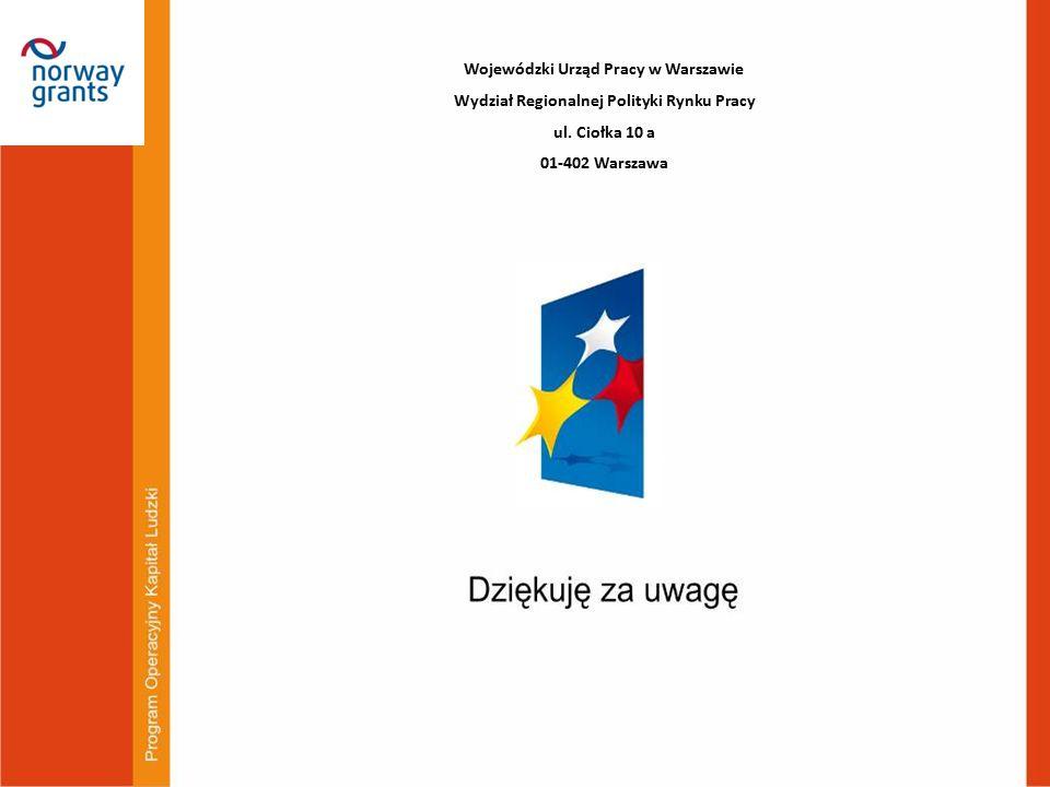 Wojewódzki Urząd Pracy w Warszawie Wydział Regionalnej Polityki Rynku Pracy ul. Ciołka 10 a 01-402 Warszawa