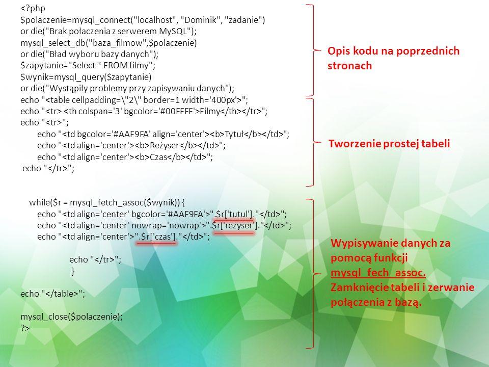 <?php $polaczenie=mysql_connect(