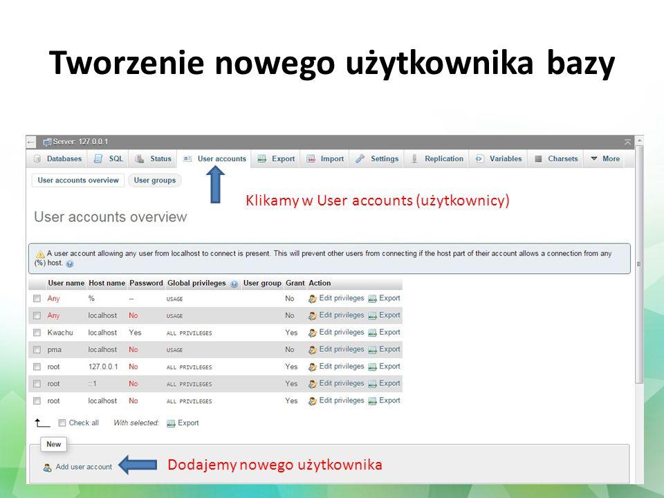 Tworzenie nowego użytkownika bazy Klikamy w User accounts (użytkownicy) Dodajemy nowego użytkownika