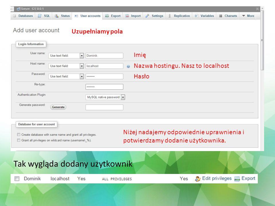 Uzupełniamy pola Imię Nazwa hostingu. Nasz to localhost Hasło Niżej nadajemy odpowiednie uprawnienia i potwierdzamy dodanie użytkownika. Tak wygląda d