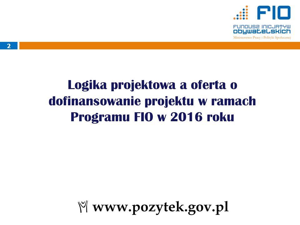 2 Logika projektowa a oferta o dofinansowanie projektu w ramach Programu FIO w 2016 roku