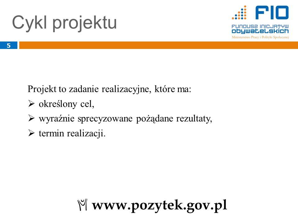 Cykl projektu 5 Projekt to zadanie realizacyjne, które ma:  określony cel,  wyraźnie sprecyzowane pożądane rezultaty,  termin realizacji.
