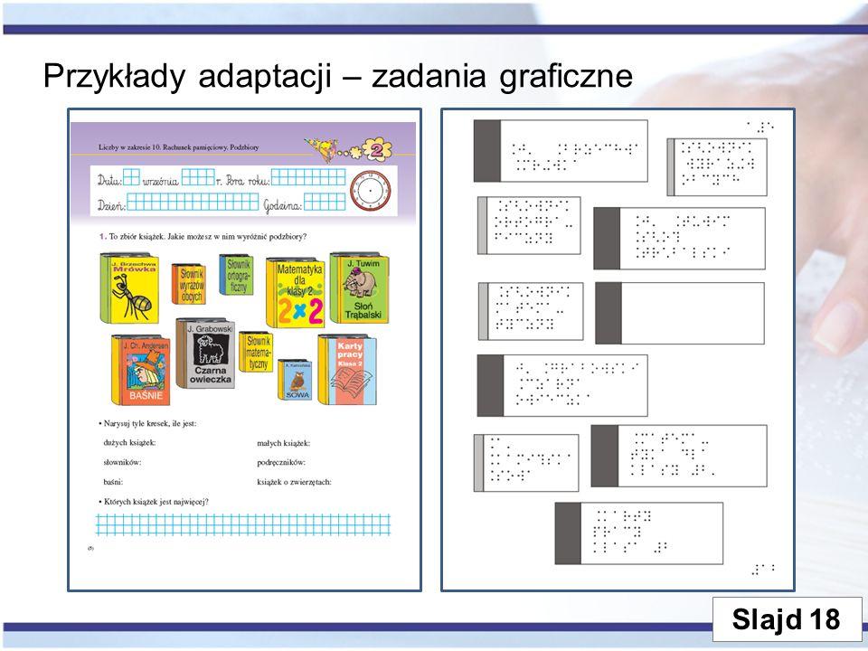 Przykłady adaptacji – zadania graficzne Slajd 18