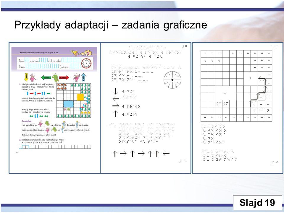 Przykłady adaptacji – zadania graficzne Slajd 19